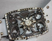 S A L E Vintage Belt with Metal Buckle - ... a Fashionista Statement Piece can fit for Size XS /// S /// M