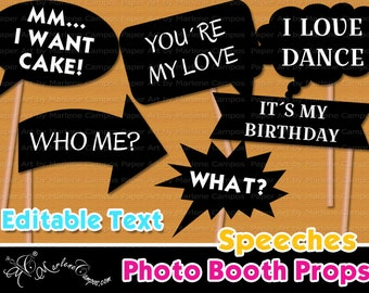 Wedding Photo Booth Props, Editable Text, Speeches photo booth props, Printable photo booth props, Birthday photo booth - INSTANT DOWNLOAD