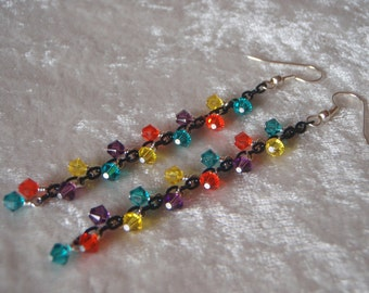 Black Chain Earrings with Turquoise, Orange, Purple, and Yellow Swarovski Crystal - Stainless Steel Earrings