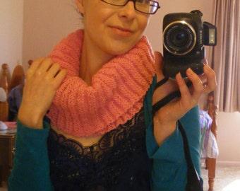 Bubblegum pink knitted cowl