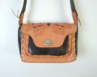 Vintage Handtooled Leather Handbag Crossbody Shoulder Strap