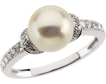 8mm Freshwater Cultured Pearl and  Diamond Ring ---- 14k White Gold ST73803