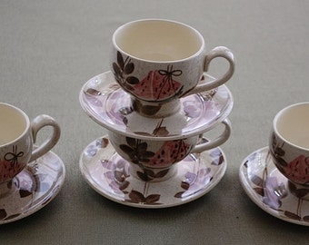 TAMPICO set of 4 Cups and Saucers by the Red Wing Pottery Co.