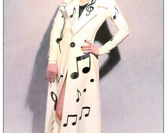Latex Coat,  Fetish Latex Musical Notes Coat