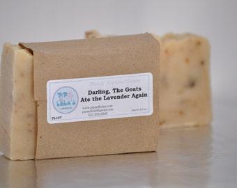 Darling, the Goats Ate the Lavender Again Soap -- AllNatural Soap, Handmade Soap, Goat Milk Lavender Soap, Hot Process Soap, Vegetarian Soap
