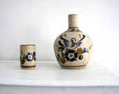 Rustic Mexican Pottery - Ceramic Vase with Cup - Handmade Studio Pottery