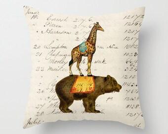 Throw Pillow Cover - Circus Bear and Giraffe - 16x16, 18x18, 20x20 - Pillow case Original Design Home Décor by Adidit