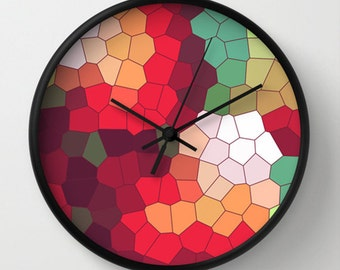 Mosaic Wall Clock - Mosaic Multicolor Wall Clock - Red Orange Green White Pink - Original Design - Home decor by Adidit