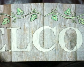 Custom Weathered Cedar WELCOME Sign with decorative  IVY garland, woodburned detail, rustic washed paint by Sniffwhiskers