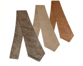 Linen neck ties. Standard or skinny brown natural or black textured linen necktie