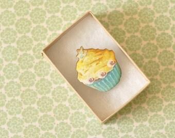 Lettie Wooden Cupcake Brooch