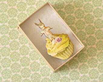 Bunny Baby Victorian Wooden Cupcake Brooch