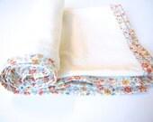 "Organic Lightweight Blanket / Swaddle Wrap / Towel - Liberty of London Binding (""Clemmie"" in Orange)"