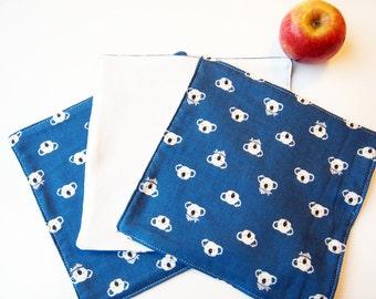 Set of 3 Face Washers / Handkerchiefs / Wipes - Koala Double Gauze (Navy Blue)