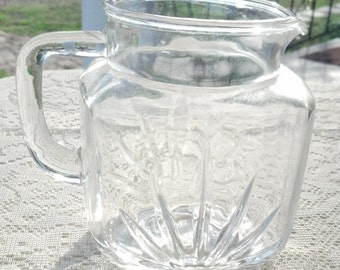 Glass Juice Pitcher Starburst Design with Star on Bottom