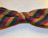 Stripe It Up in this Blue Red and Gold Stunning Vintage Bow Tie 1960s 60s