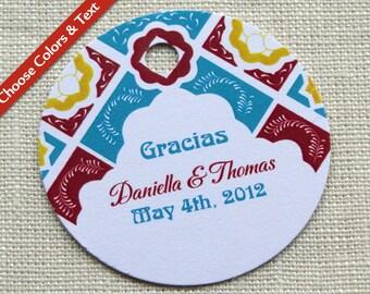 Mexican Wedding Favor Tag - Bridal Baby Shower Gift Tag - Talavera Tile - Custom Colors - Custom Wording