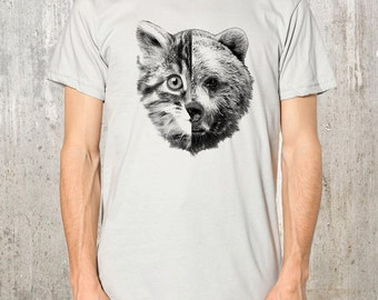 Grizzly Bear and Cat Face - Men's Graphic T-Shirt - American Apparel -  Available in S, M, L, XL and XXL