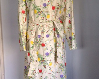 Authentic 1950s Donald Brooks for Main Street spring flower trench