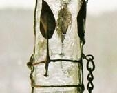 Relic Glass Bottle Keepsake Pendant Cage of Foliage Amethyst Glass Leaves Chaiin