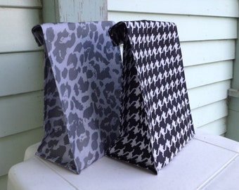Reusable Lunch Bags-Fall Prints-Black-White-Animal Print-Silver-Gray-Houndstooth-Cheetah-Velcro