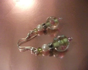PINK ROSE EARRINGS, swarovski crystals, one of a kind