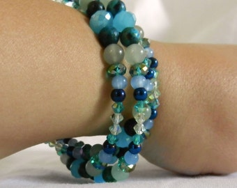 Blue Green Beaded Gemstone Memory Wire Bracelet Ocean Blues & Greens Wraparound