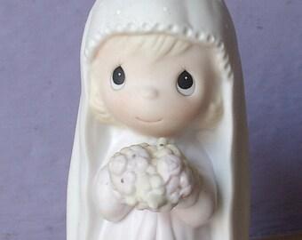 Vintage Jonathan and David figurine, God Bless the Bride, 1984, cross mark, wedding figurine, flower girl gift Precious Moments figurine