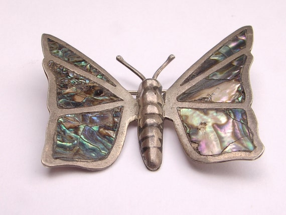 Vintage 1950's Mexico sterling silver brooch, abalone butterfly brooch, antique brooch, sterling silver jewelry