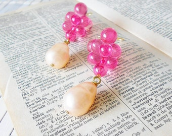 Pink Bubbles Dangle Earrings, Upcycled, Vintage Style, Bright pink, Bubbly