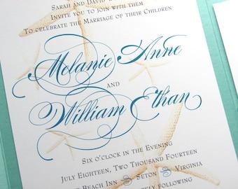 Starfish Wedding Invitation Beach Invite Pocketfold Custom Elegant Traditional Invite Classic Wedding Dramatic Script Belly Band
