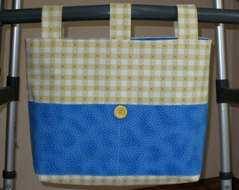 Adult Walker Bag Tote Caddy Purse - Cotton Canvas Yellow & White Check w/Bright Blue and White Polka Dot Pockets, Yellow Button