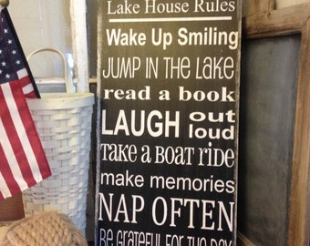 Lake House family rules subway style art wood sign - personalized -- distressed primitive looking sign