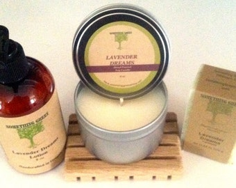 Lavender Dreams Gift Set, Natural Soap, Lotion, Soy Candle