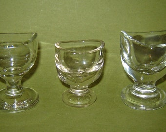 3 different aNTIQUE 19c old Vintage  mEDICAL OCTAGONAL GLASS EYE bATH cup