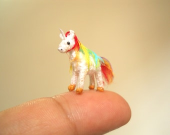 Rainbow Unicorn - Micro Amigurumi Miniature Crochet Tiny Stuffed Animal - Made To Order