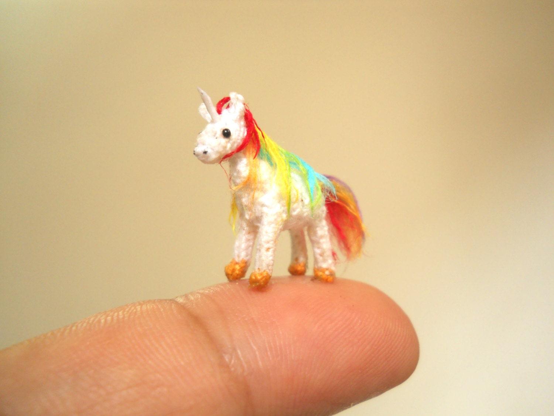 Rainbow Loom Amigurumi Unicorn : Rainbow Unicorn Micro Amigurumi Miniature Crochet Tiny