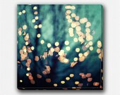 Canvas Art: Abstract Art, Teal Aqua Gold, Surreal Holiday Lights Bokeh, Pretty, Sparkle, Feminine, Girly, Square, Dark, Modern Art Canvas.
