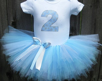Winter Birthday Tutu Outfit and Matching Headband | Snowflake Tutu Set, 1st or 2nd Birthday, Number or Initial