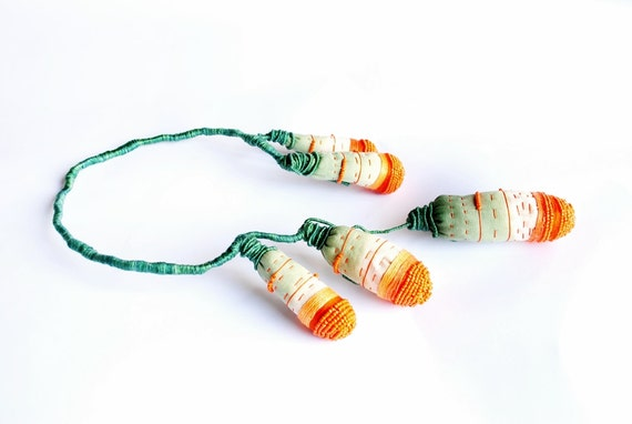 Orange fruits - contemporary statement original art, fabric textile fiber, beaded necklace