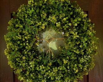 Summer Wreath , Spring Wreath , Wreath , Year Round Wreath , Boxwood Wreath , Wreath For The Door , Boxwood and Fern , Outdoor Wreath