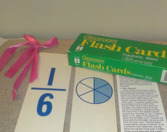 Vintage Classroom Flash Cards  Fraction, Basic, School, Learning, Craft, Numbers, Paper, Shabby Chic, Victorian, Collectible, Antique, Retro