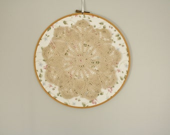 Floral and lace doily hoop art, home decor, wall hanging