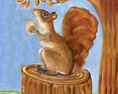 "Squirrel Art, ""Ready for Winter"", 5"" x 5"" blank card,"