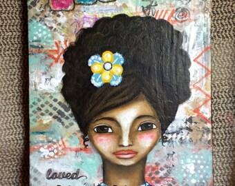 Whimsical Folk Art Girl - Loved - Original Mixed Media Painting on Canvas