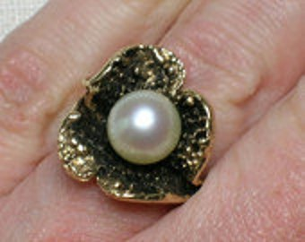 Pearl Ring, 14K Yellow Gold, Seaweed, Organic Modernist, Chunky Big Statement piece
