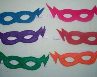 Set of 5 lightening child's felt mask with reinforced elastic band