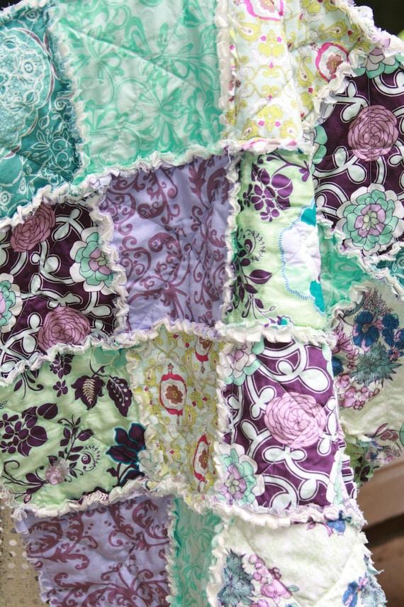 Baby Girl Rag Quilt Purple Teal Aqua Nursery