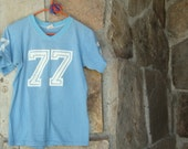 70s DISTRESSED JERSEY TEE vintage 77 t-shirt youth S