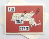 Massachusetts - Enjoy Your Run, Race or Run / RAN That State Handmade Running Greeting Card - for Marathon, Half-Marathon, 10K, 5K